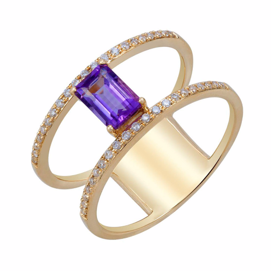 14K Yellow Gold Amethyst and Diamond Ring, Rings, Nazar's & Co. - Nazar's & Co.