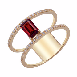 14K Yellow Gold Garnet and Diamond Ring - Nazar's & Co.