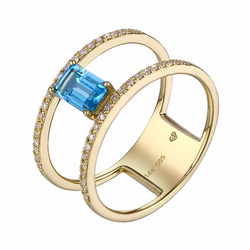 14K Yellow Gold Blue Topaz and Diamond Ring, Rings, Nazar's & Co. - Nazar's & Co.