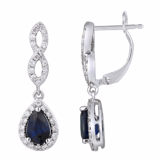Blue Sapphire and Diamond Earrings - Nazar's & Co.