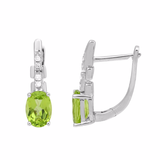 Peridot and Diamond Earrings, Earrings, Nazar's & Co. - Nazar's & Co.
