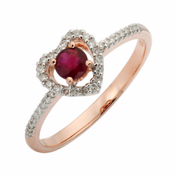 Nazar's Collection 14K Rose Gold Ruby and Diamond Heart Ring, Rings, Nazar's & Co. - Nazar's & Co.