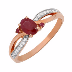 Nazar's Collection 14K Rose Gold Ruby and Diamond Ring, Rings, Nazar's & Co. - Nazar's & Co.