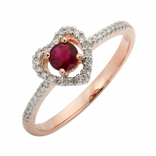 Nazar's Collection 14K Rose Gold Ruby and Diamond Heart Ring - Nazar's & Co.