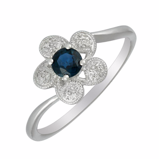 Nazar's Collection 14K White Gold Blue Sapphire and Diamond Ring, Rings, Nazar's & Co. - Nazar's & Co.