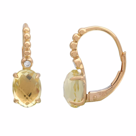 Lemon Quartz and Diamond Earrings, Earrings, Nazar's & Co. - Nazar's & Co.