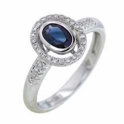 Oval Blue Sapphire and Diamond Ring - Nazar's & Co.