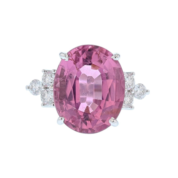 18K White Gold Oval Pink Tourmaline and Diamond Ring - Nazar's & Co.