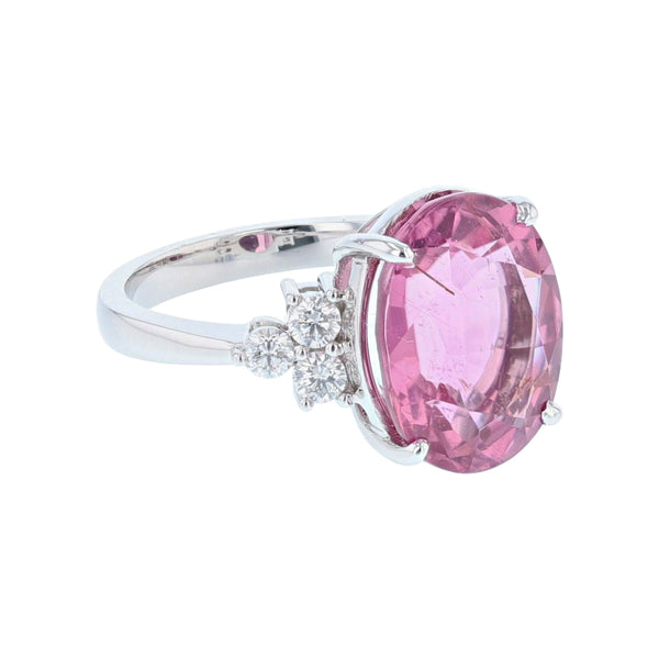 18K White Gold Oval Pink Tourmaline and Diamond Ring, Rings, Nazar's & Co. - Nazar's & Co.