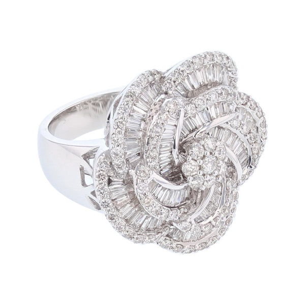Baguette and Round Diamond Flower Cocktail Ring
