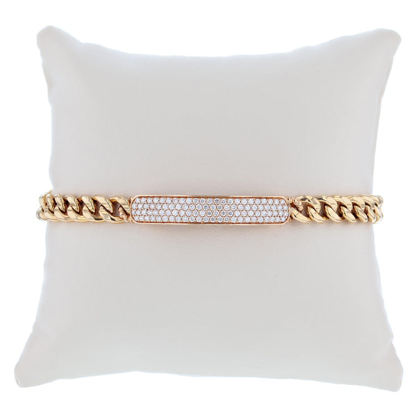 18K Rose Gold Diamond ID Bracelet - Nazar's & Co.