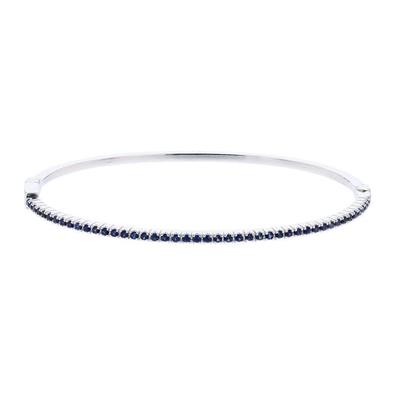18K White Gold Blue Sapphire Bangle - Nazar's & Co.