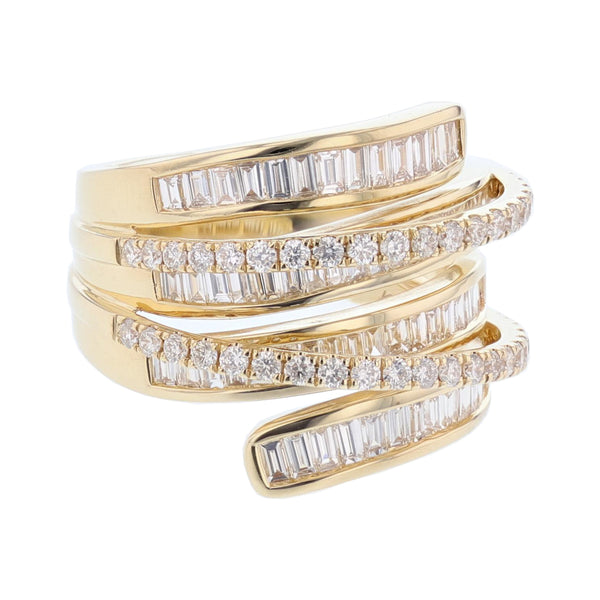 18K Yellow Gold Round and Baguette Criss Cross Diamond Ring, Rings, Nazar's & Co. - Nazar's & Co.