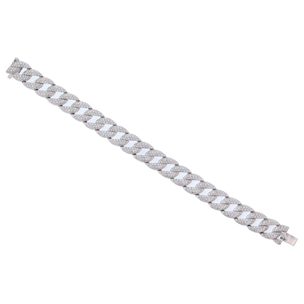 18K White Gold 7.24 Carat Chain Link Diamond Bracelet - Nazar's & Co.