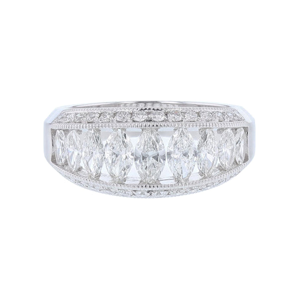 18K White Gold Marquise and Round Diamond Ring, Rings, Nazar's & Co. - Nazar's & Co.