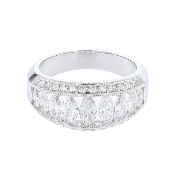 18K White Gold Marquise and Round Diamond Ring - Nazar's & Co.