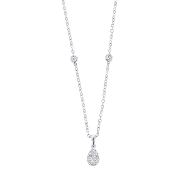 18K White Gold Diamond Drop Necklace, Necklaces, Nazar's & Co. - Nazar's & Co.