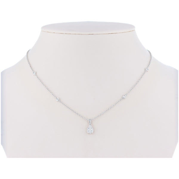18K White Gold Diamond Drop Necklace - Nazar's & Co.