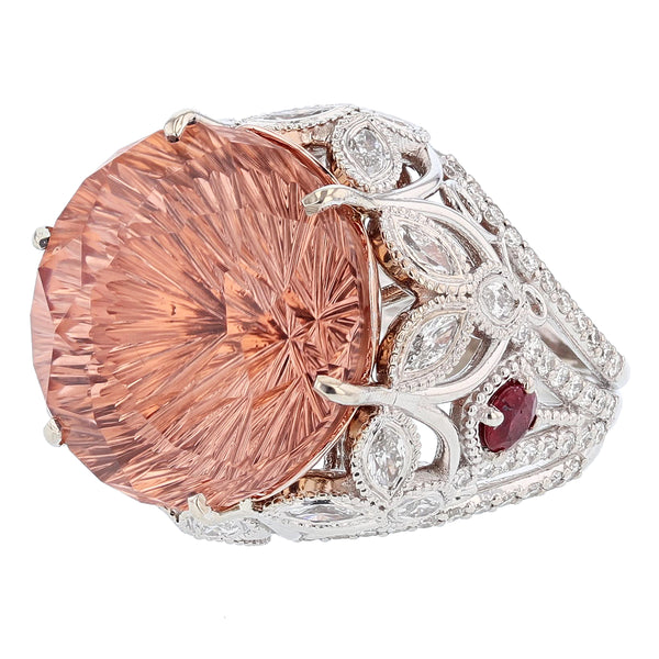 Nazarelle 14 Karat White and Rose Gold 23.40C Morganite, Diamond, and Ruby Ring, Rings, Nazar's & Co. - Nazar's & Co.