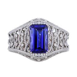 Nazarelle 14K White Gold 55.57C GIA Tanzanite and Diamond Bangle, Bangle, Nazar's & Co. - Nazar's & Co.