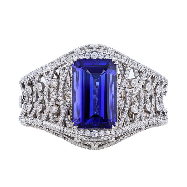 Nazarelle 14K White Gold 55.57C GIA Tanzanite and Diamond Bangle - Nazar's & Co.