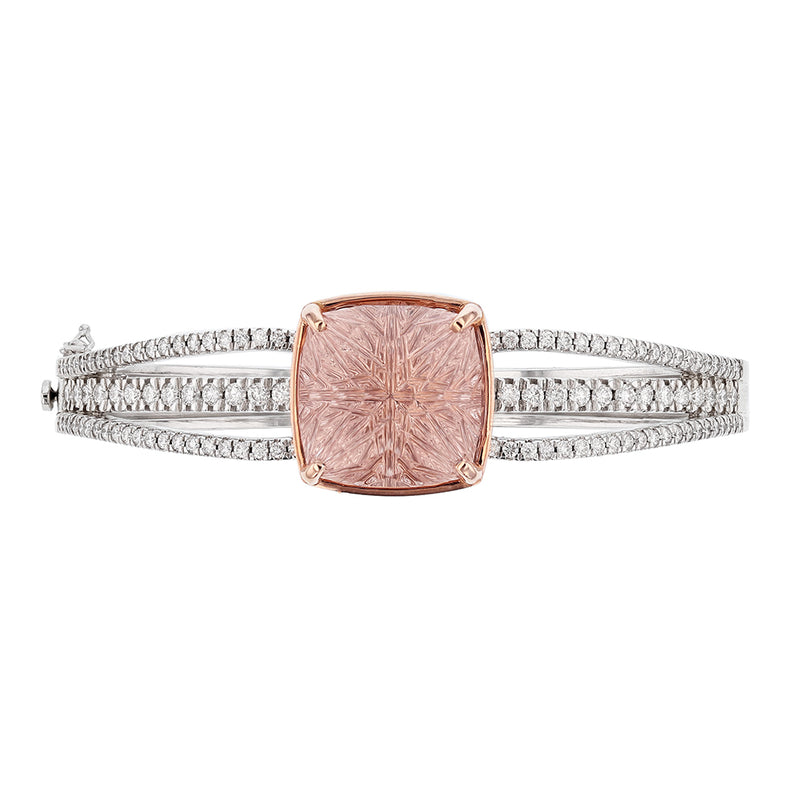 Nazarelle 14K White Gold 20.45C Morganite and Diamond Bangle, Bangle, Nazar's & Co. - Nazar's & Co.