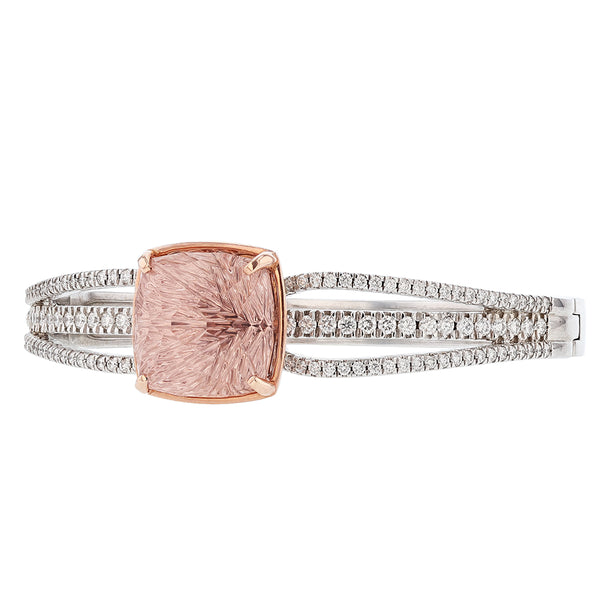 Nazarelle 14K White Gold 20.45C Morganite and Diamond Bangle - Nazar's & Co.