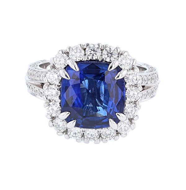 Nazarelle 18 Karat White Gold 5.06 Certified Cushion Blue Sapphire and Diamond Ring - Nazar's & Co.