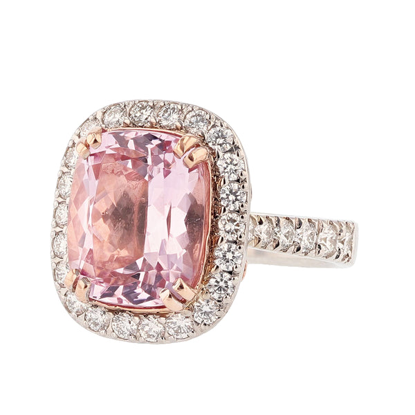 Nazarelle 14 Karat White and Rose Gold Cushion Cut Morganite and Diamond Ring, Rings, Nazar's & Co. - Nazar's & Co.