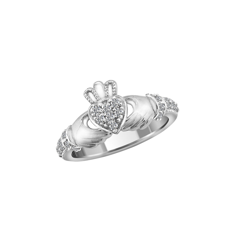 14K White Gold and Diamond Claddagh Ring, Rings, Nazar's & Co. - Nazar's & Co.