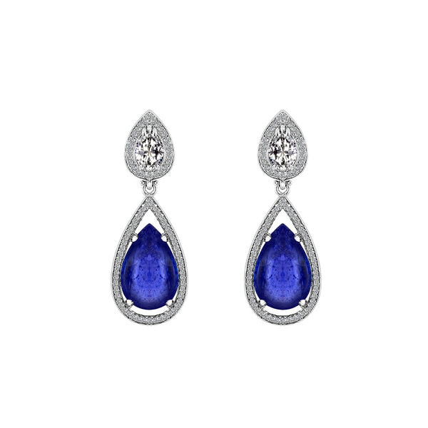 14K White Gold Tanzanite and Diamond Earrings - Nazar's & Co.