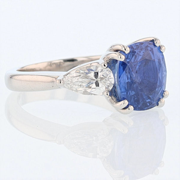 Platinum 5.58 Carat Cushion Cut Ceylon Blue Sapphire and Diamond Ring - Nazar's & Co.