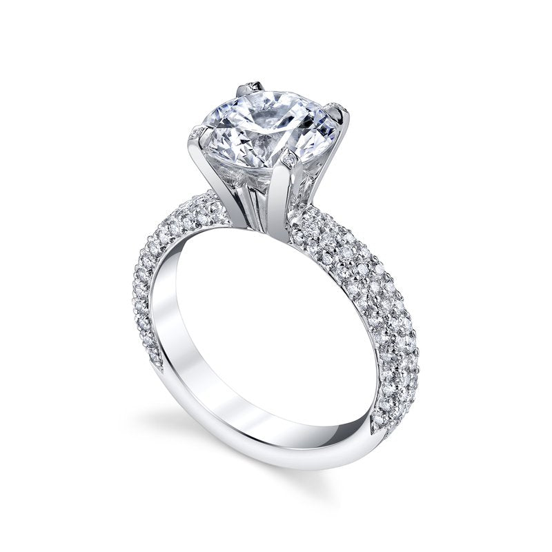 Michael B Three Row Flatband Engagement Ring Setting, Rings, Nazar's & Co. - Nazar's & Co.