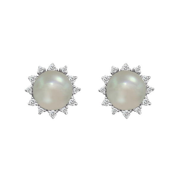 18K White Gold Cultured Pearl and Diamond Stud Earrings - Nazar's & Co.