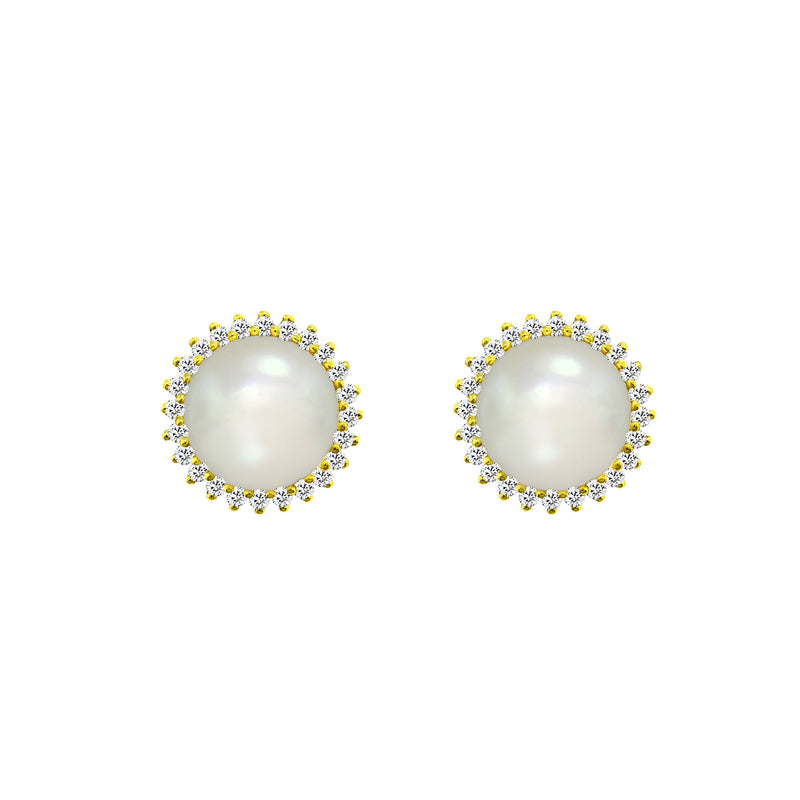 14K Yellow Gold Cultured Pearl and Diamond Stud Earrings, Earrings, Nazar's & Co. - Nazar's & Co.