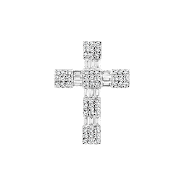 18K White Gold Diamond Cross Pendant, Necklaces, Nazar's & Co. - Nazar's & Co.