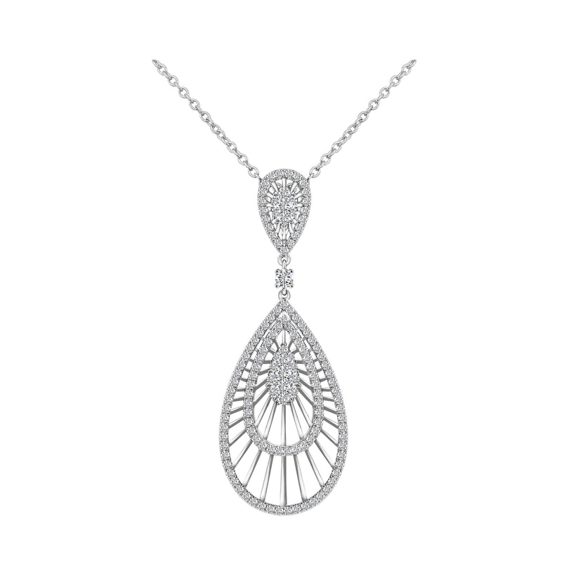18K White Gold Diamond Pendant, Necklaces, Nazar's & Co. - Nazar's & Co.