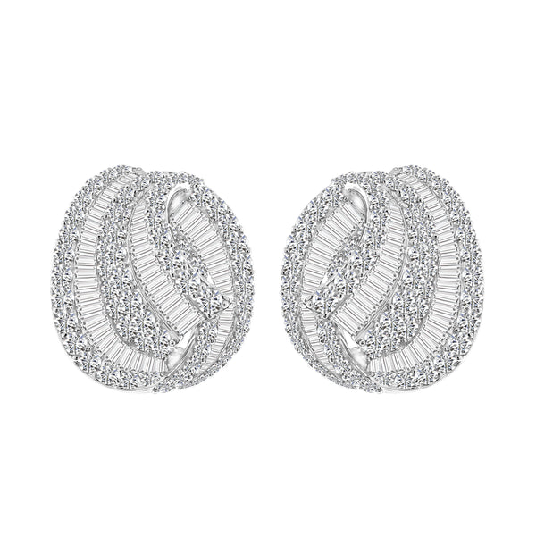 18K White Gold Diamond Drop Earrings, Earrings, Nazar's & Co. - Nazar's & Co.
