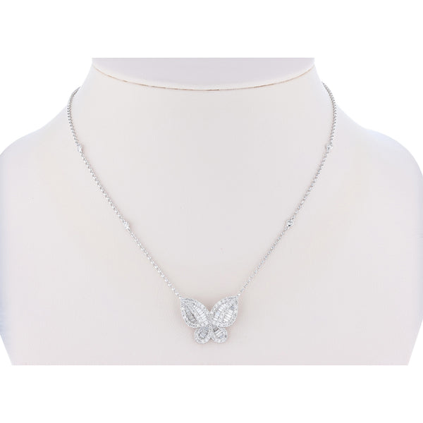 18K White Gold Butterfly Diamond Necklace - Nazar's & Co.