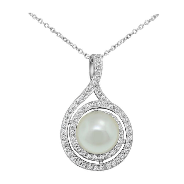 18K White Gold South Sea Pearl and Diamond Pendant - Nazar's & Co.