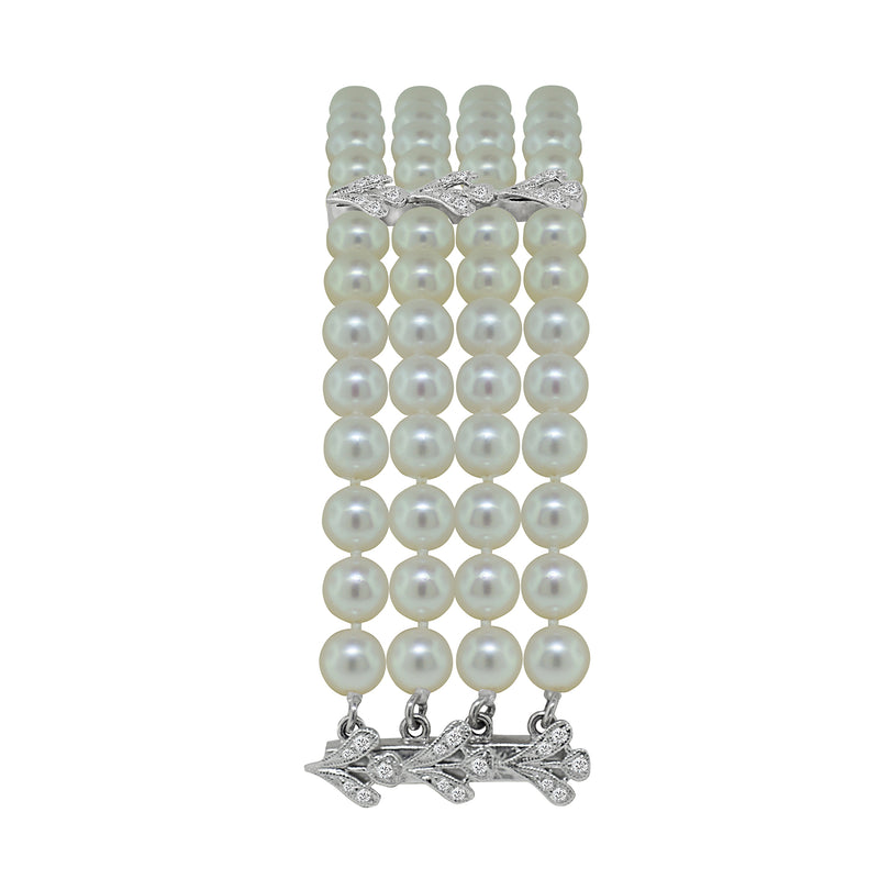 18K White Gold Four Strand Freshwater Pearl and Diamond Bracelet, Bracelets, Nazar's & Co. - Nazar's & Co.