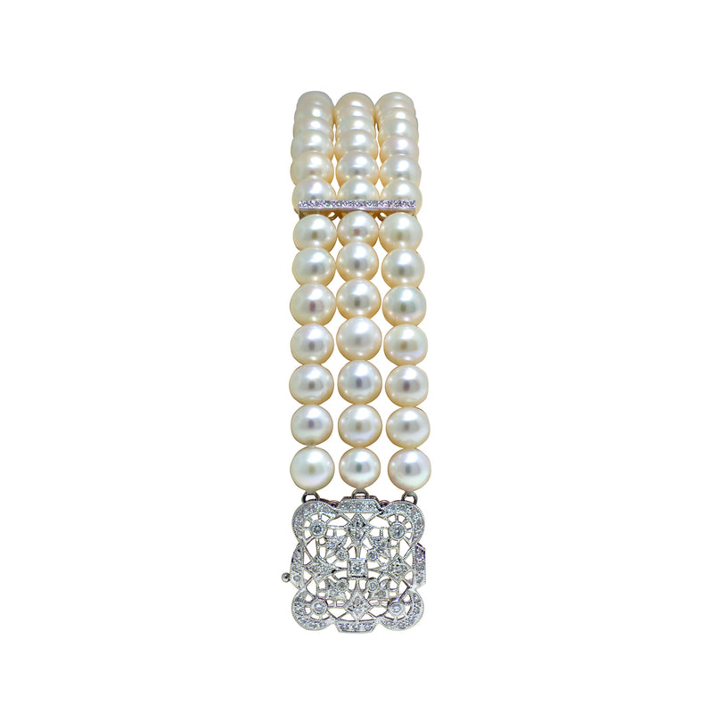 18K White Gold Triple Strand Freshwater Pearl and Diamond Bracelet - Nazar's & Co.