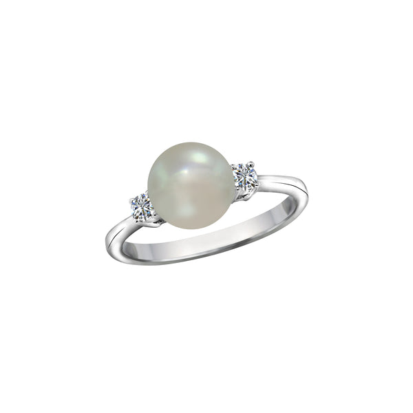 14K White Gold Cultured Pearl and Diamond Ring, Rings, Nazar's & Co. - Nazar's & Co.