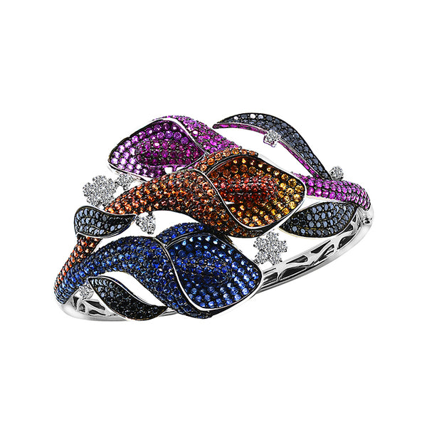 18K White Gold Sapphire (TR) Black Diamond and Diamond Bangle, Bangle, Nazar's & Co. - Nazar's & Co.