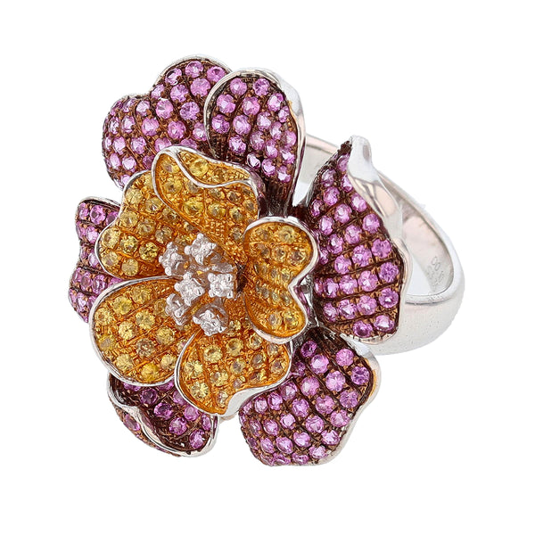 Multi-Colored Sapphire and Diamond Flower Cocktail Ring