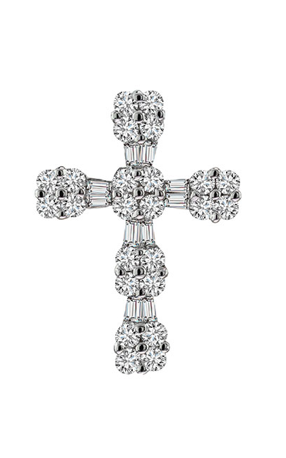 18K White Gold Diamond Cross Pendant - Nazar's & Co.