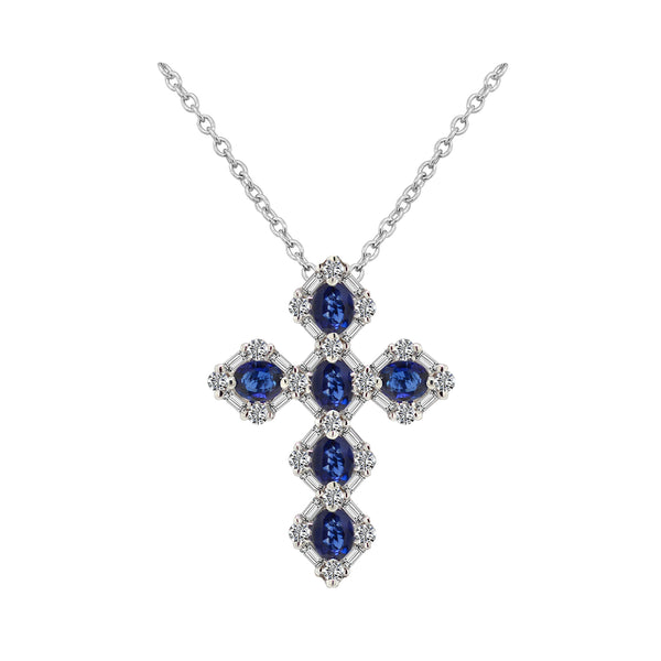 18K White Gold Sapphire and Diamond Cross Necklace - Nazar's & Co.