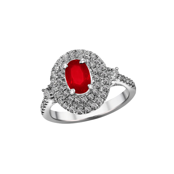 18K White Gold Ruby and Diamond Ring, Rings, Nazar's & Co. - Nazar's & Co.