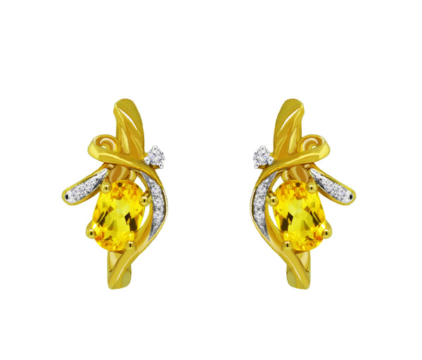 14K Yellow Gold Citrine and Diamond Earrings, Earrings, Nazar's & Co. - Nazar's & Co.