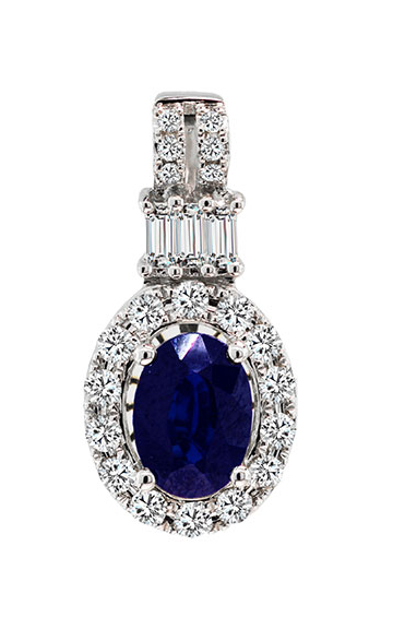 14K White Gold 1.04 Carat Blue Sapphire and Diamond Pendant - Nazar's & Co.